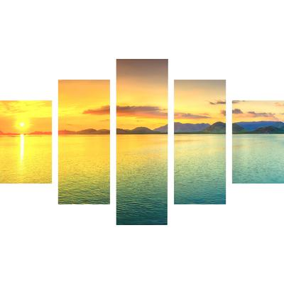 Модульная картина на холсте Ecoramka Закат на море (135x82 см)