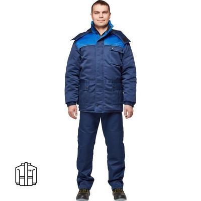 Куртка рабочая зимняя мужская з08-КУ с СОП с синяя/васильковая (размер 52-54, рост 170-176)