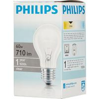 Лампа накаливания Philips 60 Вт E27 грушевидная прозрачная 2700 К теплый белый свет