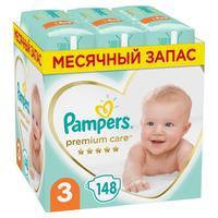 Подгузники Pampers Premium Care Midi Мега Супер Упаковка 3 (M) 6-10 кг (148 штук в упаковке)