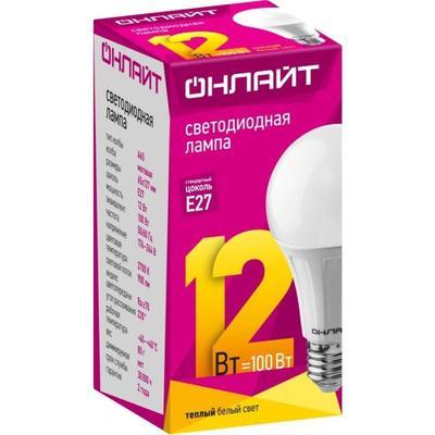 Лампа светодиодная ОНЛАЙТ OLL-A65/А60-12-230-2.7K-E27 12Вт Е27 2700К 71682