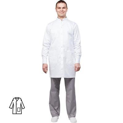 Халат медицинский мужской м10-ХЛ длинный рукав белый (размер 60-62, рост 170-176)