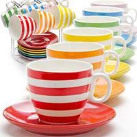 Сервиз чайный Loraine на 6 персон (25070) керамика (6 чашек 220 мл, 6 блюдец 14 см, подставка)