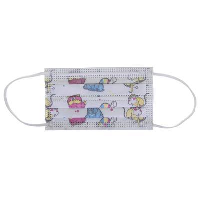 Маска медицинская Latio трехслойная детская белая с рисунком (50 штук в  упаковке)