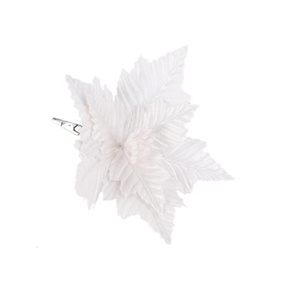 Новогоднее украшение Magic Time Цветок текстиль белое (диаметр 25 см)