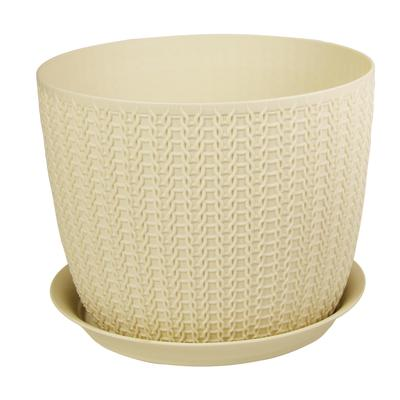 Кашпо с поддоном М-пластика Вязание 1.9 л