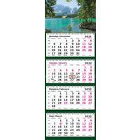 Календарь квартальный четырехблочный настенный 2022 год Природа Озеро  (305х835 мм)