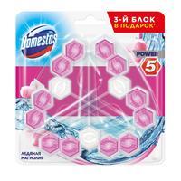 Блок для унитаза гигиенический Domestos Power 5 Trio Ледяная магнолия (3  штуки в упаковке)