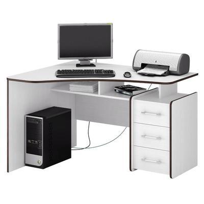 Стол компьютерный угловой Триан-5 (белый, 1200x750x900 мм)