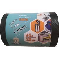Мешки для мусора на 65 литров EcoСlean Tubus черные (25 мкм, в рулоне 20 штук, 50x80 см)