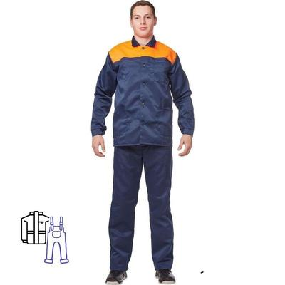 Костюм рабочий летний мужской л16-КПК синий/оранжевый (размер 44-46, рост 170-176)