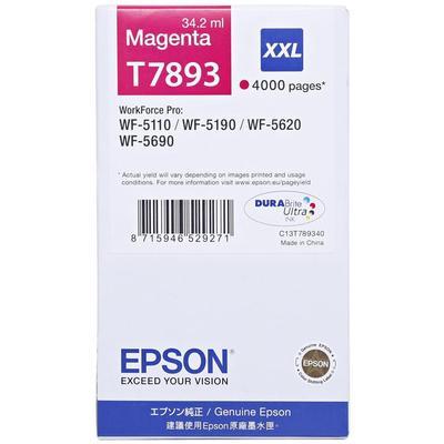 Картридж струйный Epson T7893 C13T789340 пурпурный повышенной емкости оригинальный для WF-5110/5620