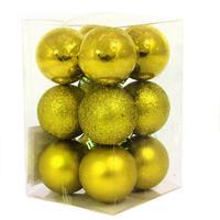 Набор елочных шаров  пластик золотистый (5 см, 12 штук в упаковке)