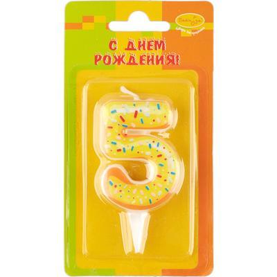 Свеча для торта Пончик Цифра 5 (6 см)