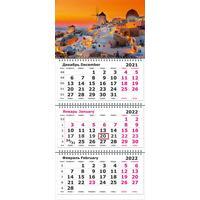 Календарь квартальный трехблочный настенный 2022 год Греция Санторини  (305х675 мм)