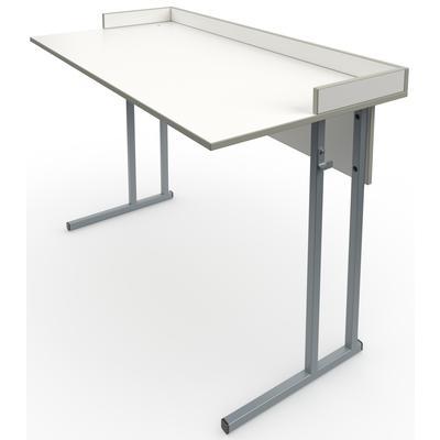 Стол ученический лабораторный с бортиками (белый/серый, 1200х600х820 мм)