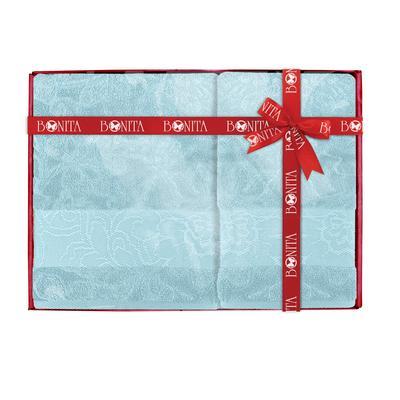Набор полотенец махровых Азалия 50х90 см 1 штука 70х130 см 1 штука 400 г/кв.м голубые