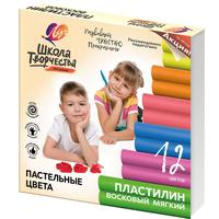 Пластилин восковой Луч Школа творчества 12 цветов 180 г со стеком