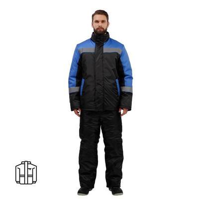 Куртка рабочая зимняя мужская з38-КУ с СОП черная/голубая (размер 48-50, рост 170-176)