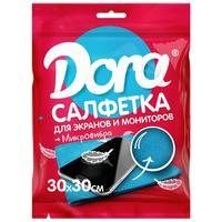 Салфетка хозяйственная Dora микрофибра 30х30 см синяя
