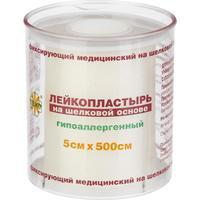 Пластырь фиксирующий Leiko Plaster 5x500 см шелковая основа