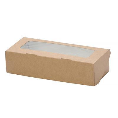 Бумажный контейнер DoEco Eco Tabox 1000 для пищи на вынос 1000 мл коричневый (200х120х40 мм, 50 штук в упаковке)