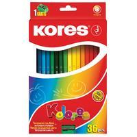 Карандаши цветные Kores 36 цветов шестигранные с точилкой