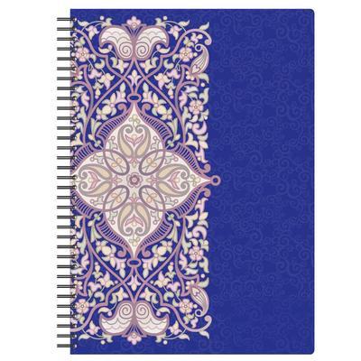 Бизнес-тетрадь Комус Arabeska А4 80 листов фиолетовая в клетку на спирали (300х210 мм)
