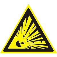 Знак безопасности Взрывоопасно W02 (200х200 мм, пленка ПВХ)