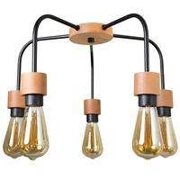 Люстра Эдисон черный/натуральный на 5 лампочек Е27 60Вт 233-74-25