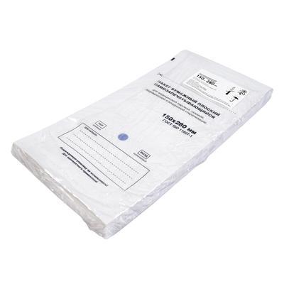 Пакет для стерилизации Меридиан для воздушной/паровой/газовой/радиационной стерилизации самоклеящийся 150x280 мм белый (100 штук в упаковке)