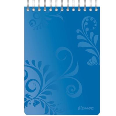 Блокнот Комус Русская серия А6 50 листов синий в клетку на евроспирали (106х162 мм)