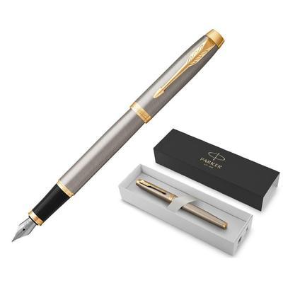 Ручка перьевая Parker IM Brushed Metal GT цвет чернил синий цвет корпуса серебристый (артикул производителя 1931649)