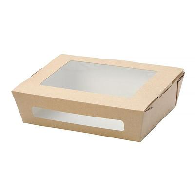 Бумажный контейнер DoEco Eco Salad 1000 для салата 1000 мл коричневый (190х150х50 мм, 50 штук в упаковке)