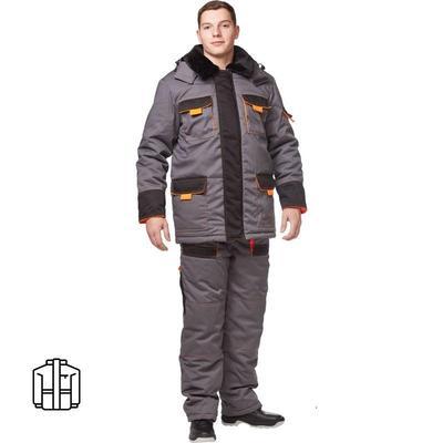 Куртка рабочая зимняя мужская з25-КУ цвет серый/черный (размер 44-46 , рост 170-176)