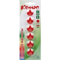 Магнитный держатель для досок красный Комус (диаметр 20 мм, 6 штук в упаковке)