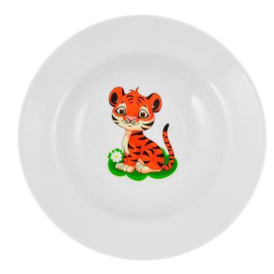 Тарелка детская глубокая Добруш Идиллия Полосатики тигрята фарфоровая 200 мм (артикул производителя 7С2021)