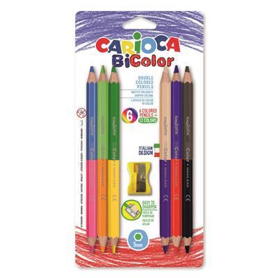 Карандаши цветные Carioca BiColor 12 цветов (двусторонние) шестигранные с точилкой