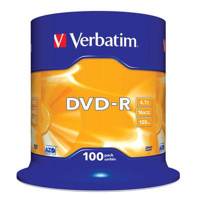 Диск DVD-R Verbatim 4.7 ГБ 16x cake box (100 штук в упаковке)