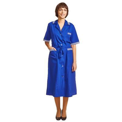 Халат для горничных и уборщиц у01-ХЛ с коротким рукавом васильковый (размер 44-46, рост 158-164)