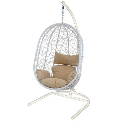 Кресло подвесное Кокон XL белое (искусственный ротанг/сталь)