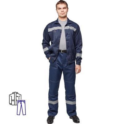 Костюм рабочий летний мужской л22-КБР с СОП темно-синий (размер 52-54, рост 182-188)