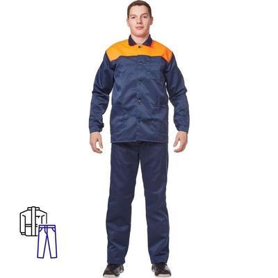 Костюм рабочий летний мужской л16-КБР синий/оранжевый (размер 60-62, рост 158-164)