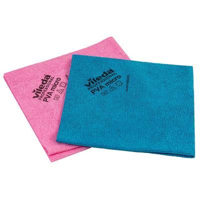 Салфетки хозяйственные Vileda Professional ПВАмикро микроволокно (микрофибра)/ПВА покрытие 38x35 см 2 штуки в упаковке синий/красный (арт. производителя 526471)