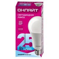 Лампа светодиодная ОНЛАЙТ OLL-A60-25-230-4K-E27 25Вт Е27 4000К 61954