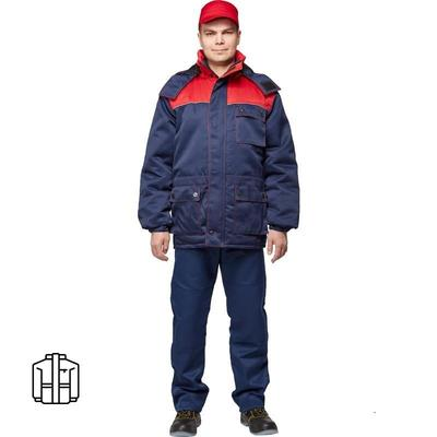 Куртка рабочая зимняя мужская з08-КУ с синий/красный (размер 52-54 рост 170-176)