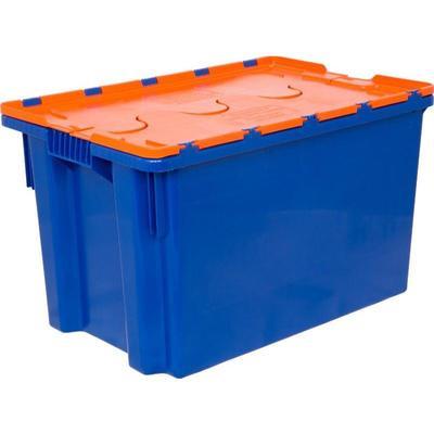 Ящик (лоток) универсальный из ПНД с крышкой 600х400х300 мм синий/оранжевый
