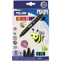Фломастеры Milan Maxi Bicolour 16 цветов двусторонние