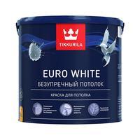 Краска для потолка для сухих помещений Tikkurila Euro White белая глубокоматовая 2,7 л