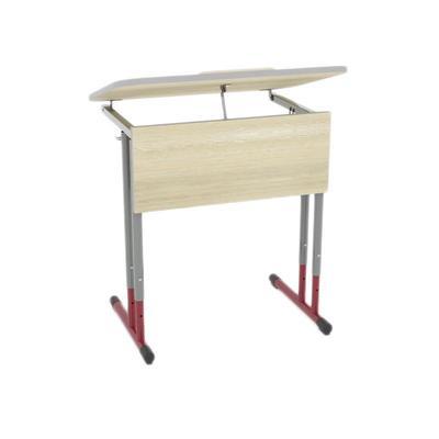 Стол ученический одноместный Юниор с закругленными углами и регулируемым наклоном столешницы (шамони/серый/красный, рост 3-7)